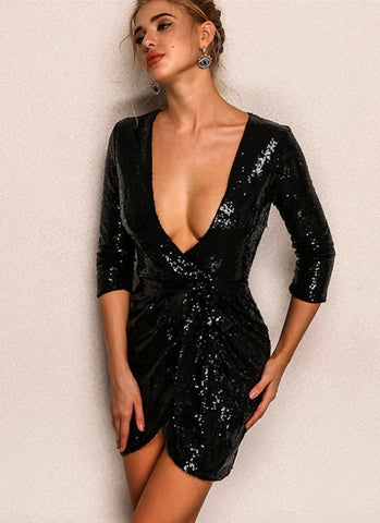 Vera Sequins Dress- Black - Posh Fashion Girls