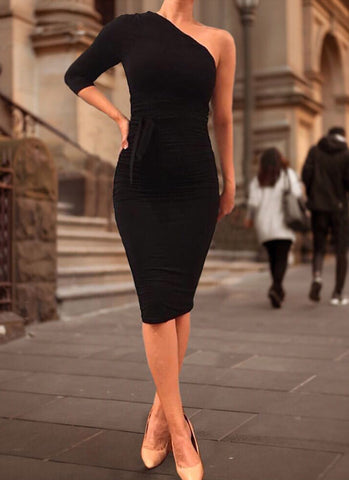 Dolly Elegant Bodycon Dress- Black - Posh Fashion Girls