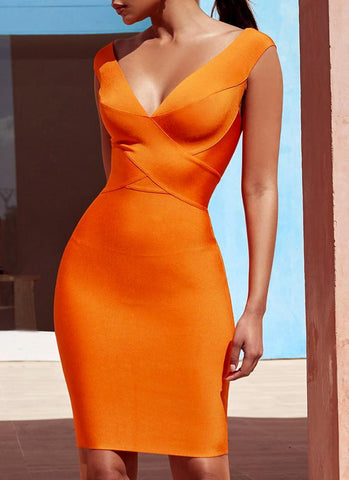 Alexis Cross Front  Bandage Dress- Orange