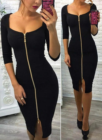Shida Elegant Zipper Dress - Posh Fashion Girls