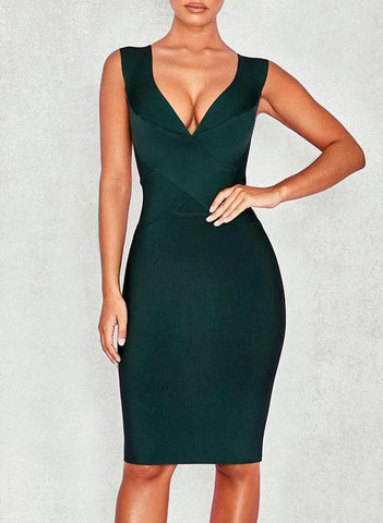 Alexis Cross Front  Bandage Dress- Emerald Green