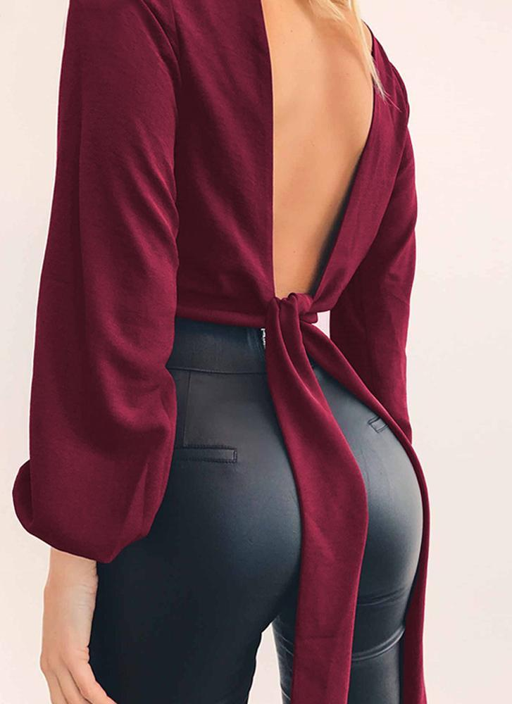 Hailey Knotted Top- Maroon - Posh Fashion Girls
