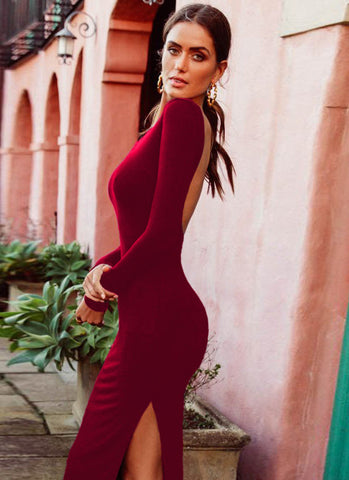 Niaz Backless Bodycon Dress- Maroon - Posh Fashion Girls