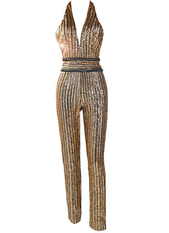 Marta Sequins Jumpsuit- Gold - Posh Fashion Girls
