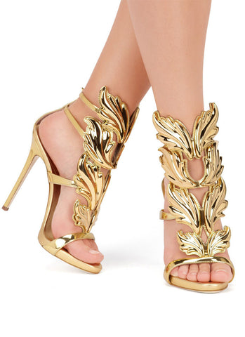 Blanca Golden Leaf Sandals -Gold - Posh Fashion Girls