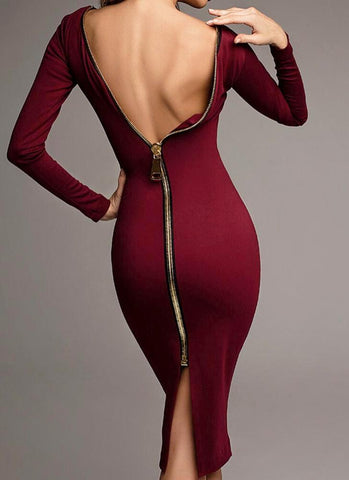 Tiana Bodycon Dress-Maroon - Posh Fashion Girls