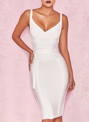Lisa Bodycon Bandage Dress- White - Posh Fashion Girls