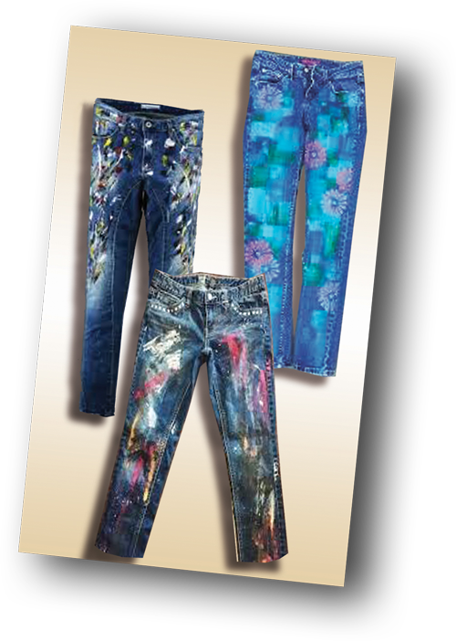 three pairs of painted jeans