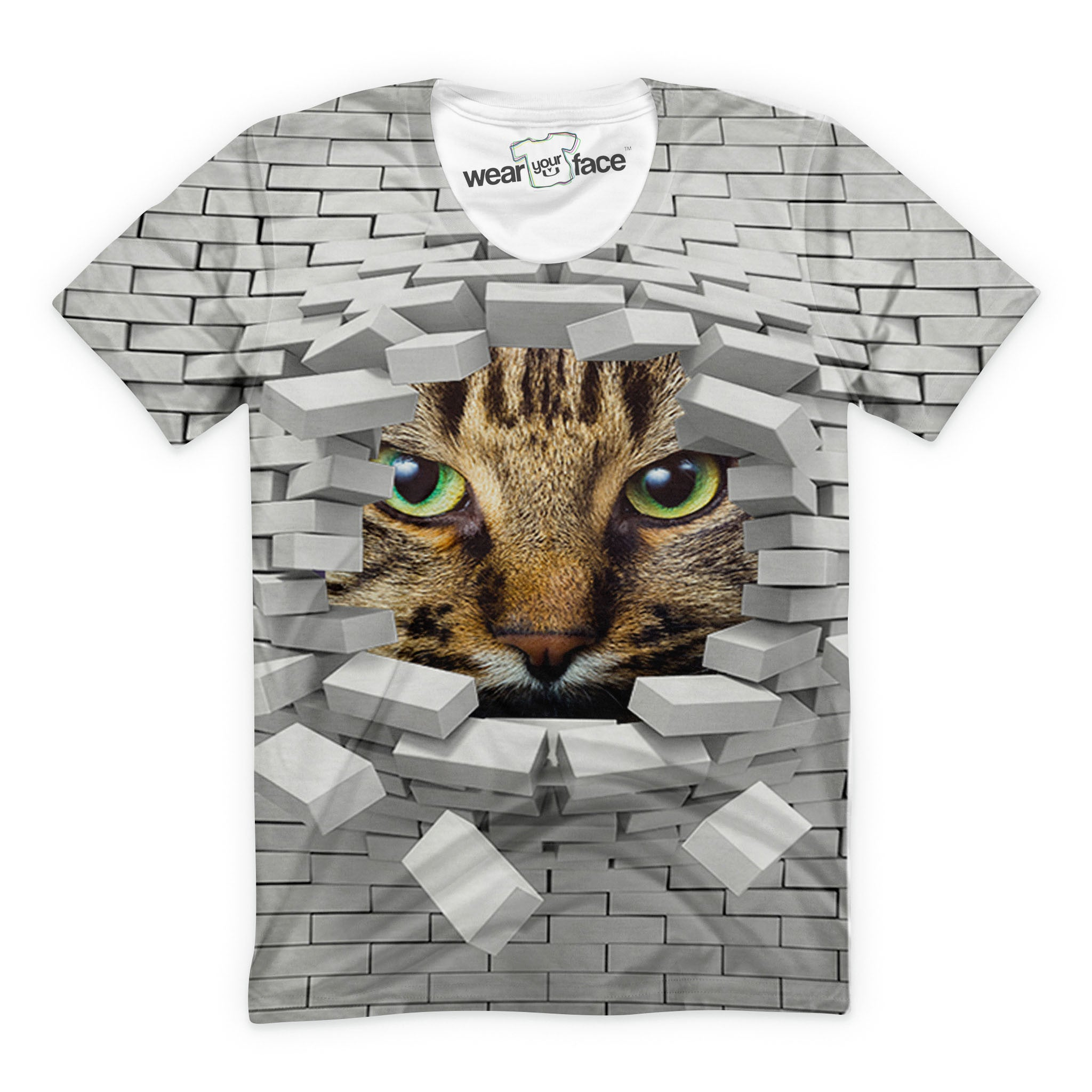 Breaking Through Bricks Cat T-Shirt