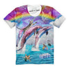 Cat Riding Dolphins Into The Sea T-Shirt