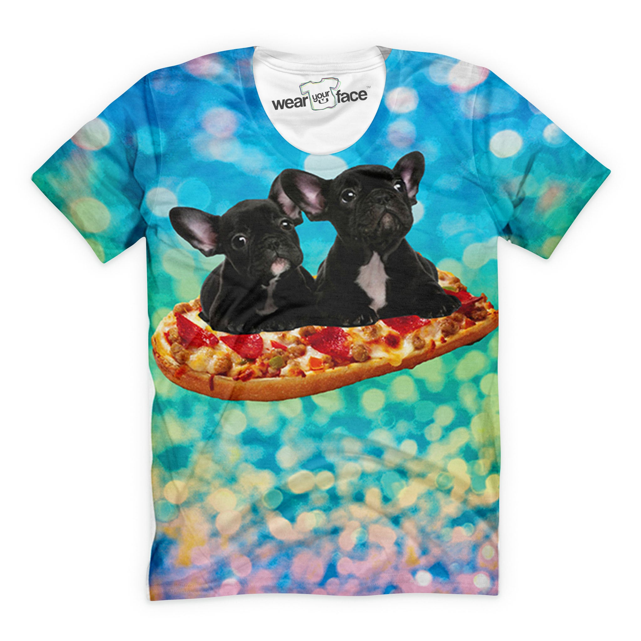 Frenchie Puppies Riding Pizza T-Shirt