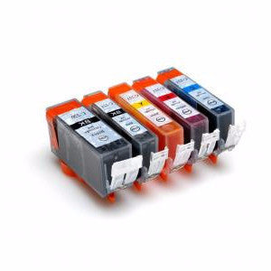 Canon CLI-221 Compatible Ink Cartridge 5 Pack Value Bundle (GY/BK/C/M/Y) - American Toner Supply