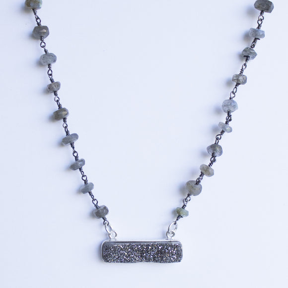 Labradorite Necklace with Druzy