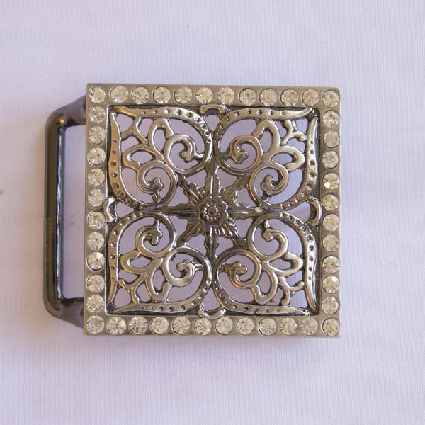 Filagree Silver Buckle with Crystals