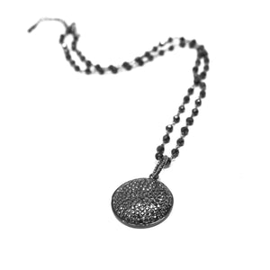 Silver Pave Pendant Necklace - Circle
