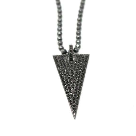 arrowhead necklace on hematite chain