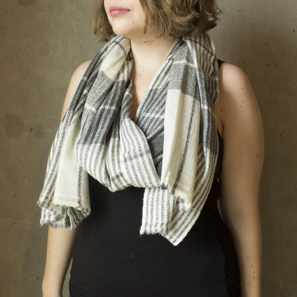 Plaid Grey Cashmere Scarf
