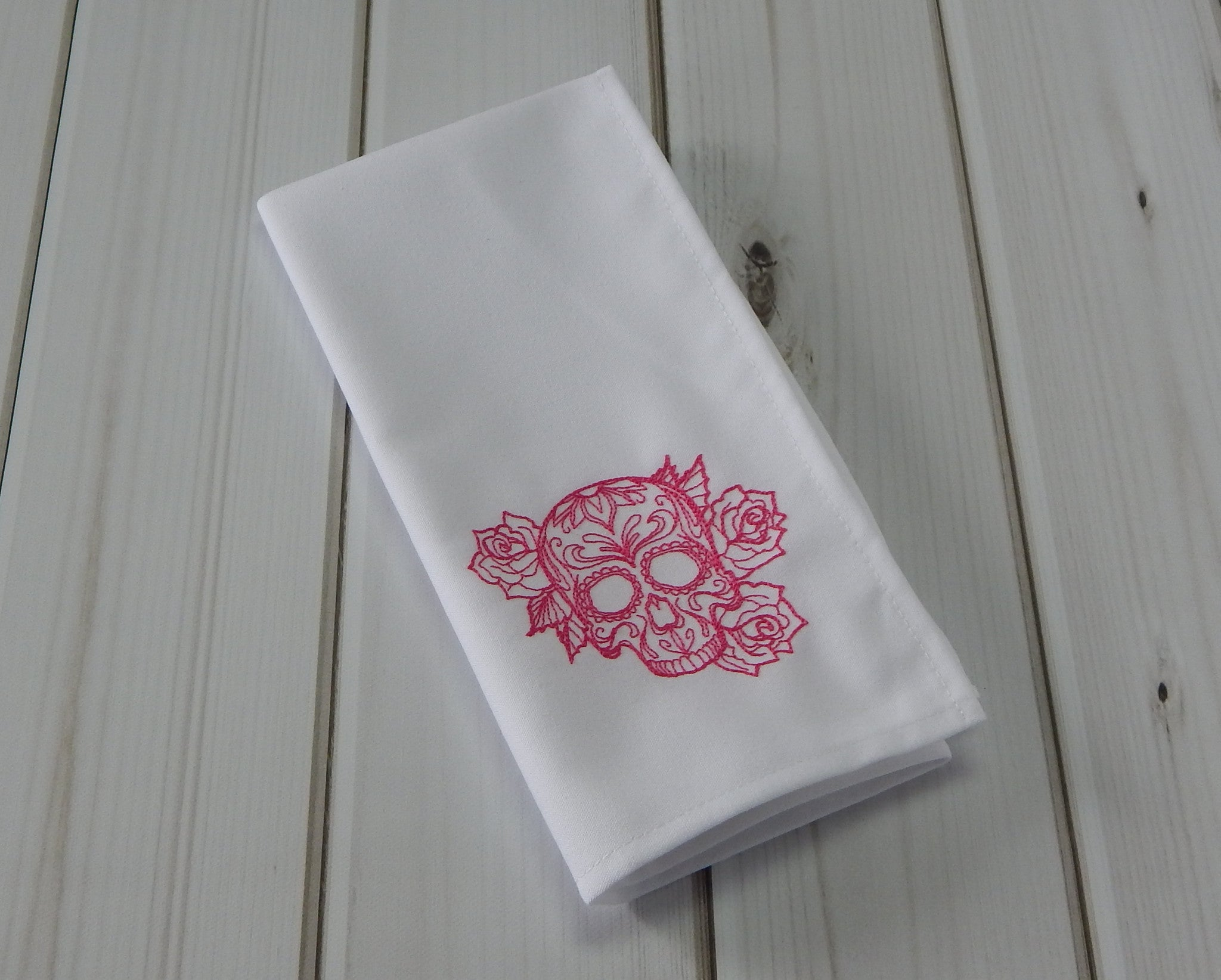 SUGAR SKULLS WHITE - French Press Linens