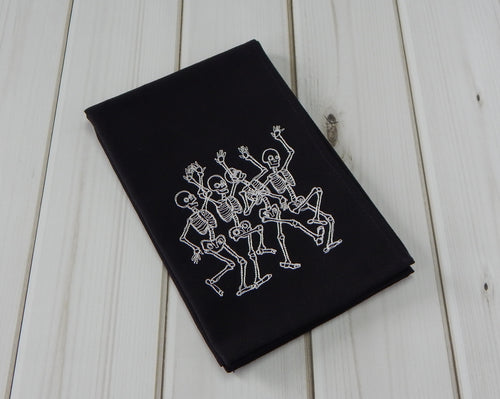 4 DANCING SKELETONS BLACK - French Press Linens