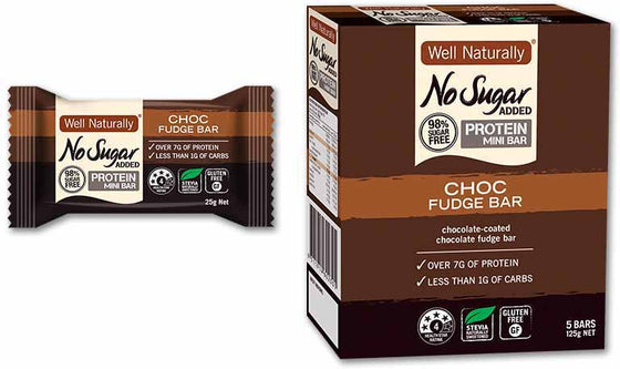 Well Naturally No Sugar Added Choc Fudge Protein Bar