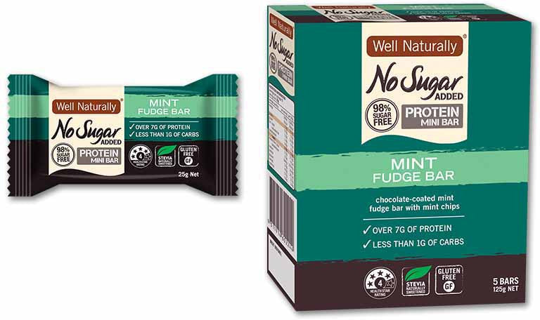 Well Naturally No Sugar Added Mint Fudge Protein Bar