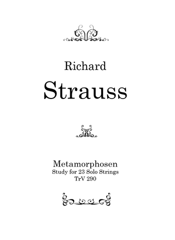 Strauss — Metamorphosen — Complete Score and Parts