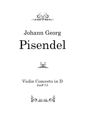 Pisendel — Violin Concerto in D major, JunP I.5 — Complete Score and Parts