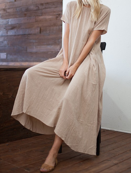 Short Sleeved Long Dress with Pockets - Almond