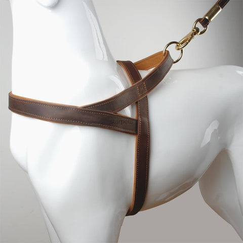 "1"" Wide Genuine Leather Dog Harness 30-36"" Chest Size"