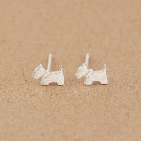 100% Sterling Silver Dog Earrings
