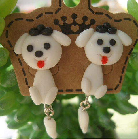 100% Handmade Polymer Clay Dogs Stud Earrings