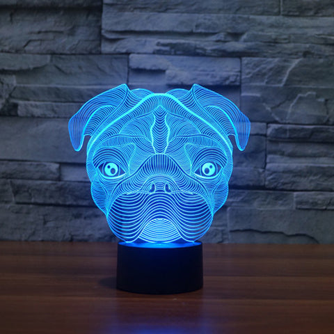 7 colour Pug Lamp