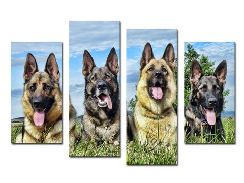 4 Piece Canvas Artwork  German Shepherd