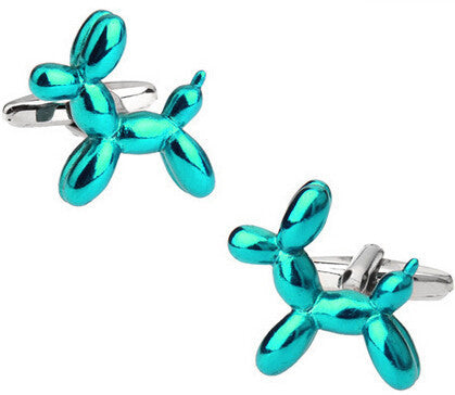 Aqua Balloon Dog  Cufflinks