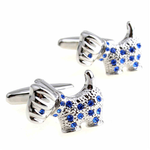 Dog Cuff Links Silver Blue diamonds