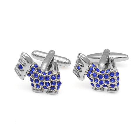 Blue American Bully Crystal CuffLinks