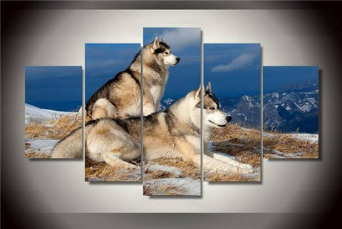 Snow Dogs Canvas Painting