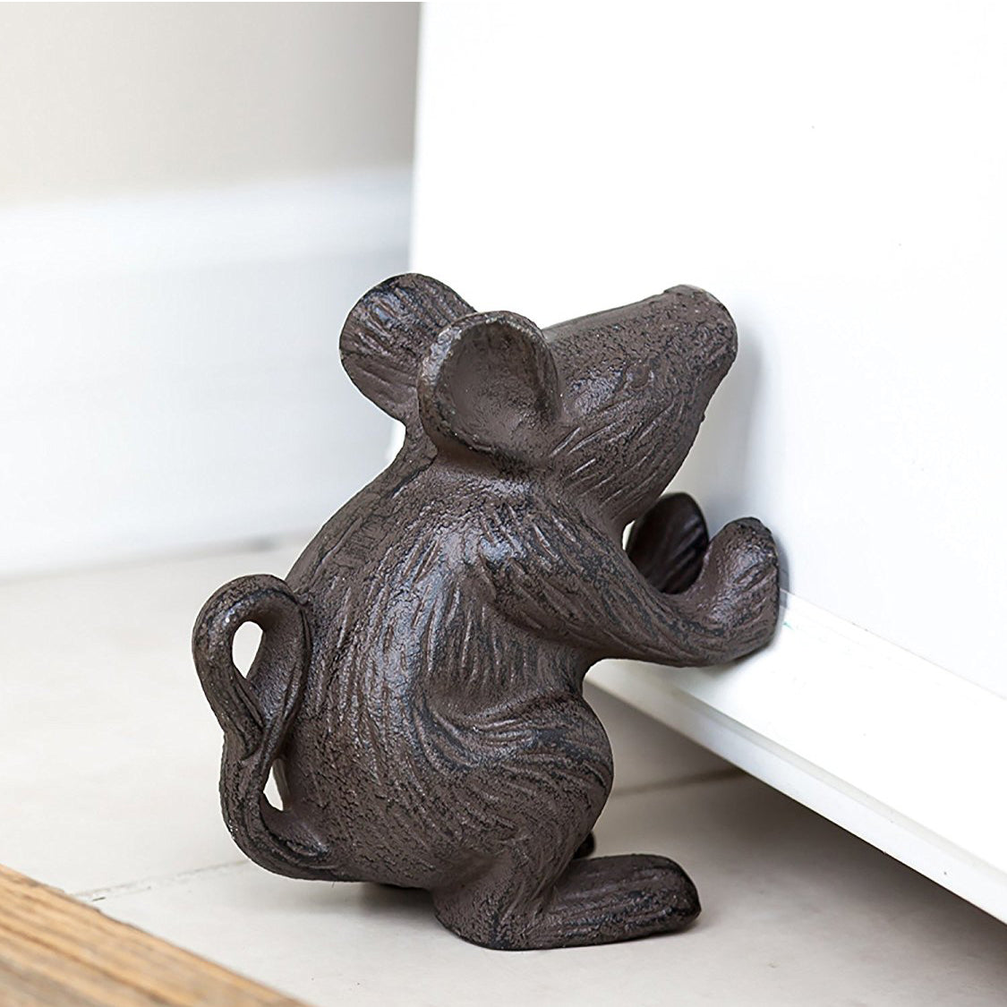 cast iron mouse decorative door stop