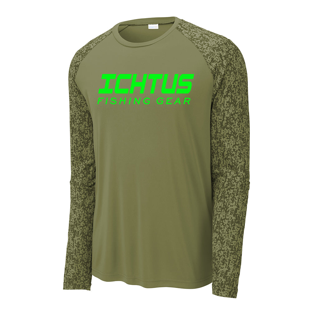 Ichtus Fishing Gear Logo Lime Green Print Long Sleeve Digi Camo Men's Performance Tee