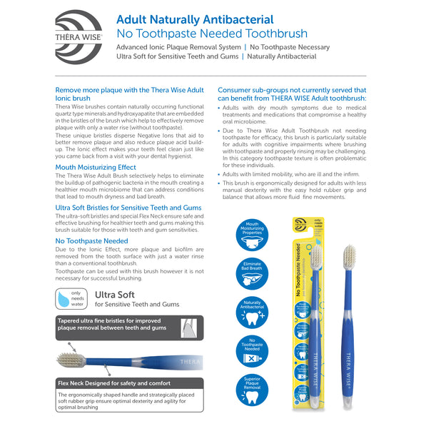 Adult Mouth Moisturizing - No Toothpaste Needed - Naturally Antibacterial Toothbrush (3 pack) - Thera Wise