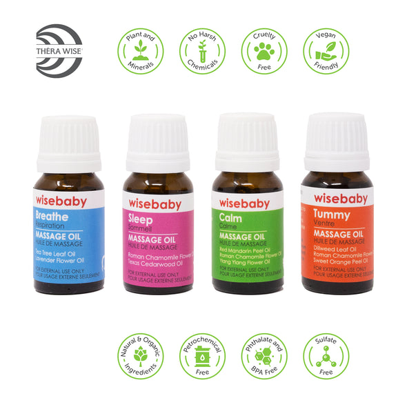 Wise Massage Essential Oils 4 pack X 10ml, Aromatherapy, Pre-Blended Essential Oil - Thera Wise
