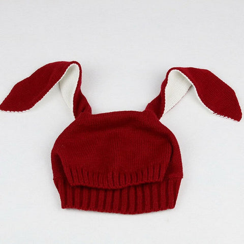 Rabbit ear baby cap, ruby red
