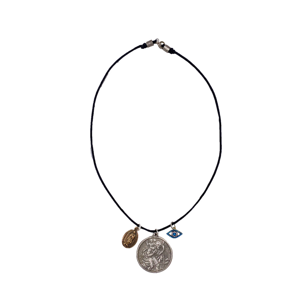 Leather St. Chris Necklace - Closeout