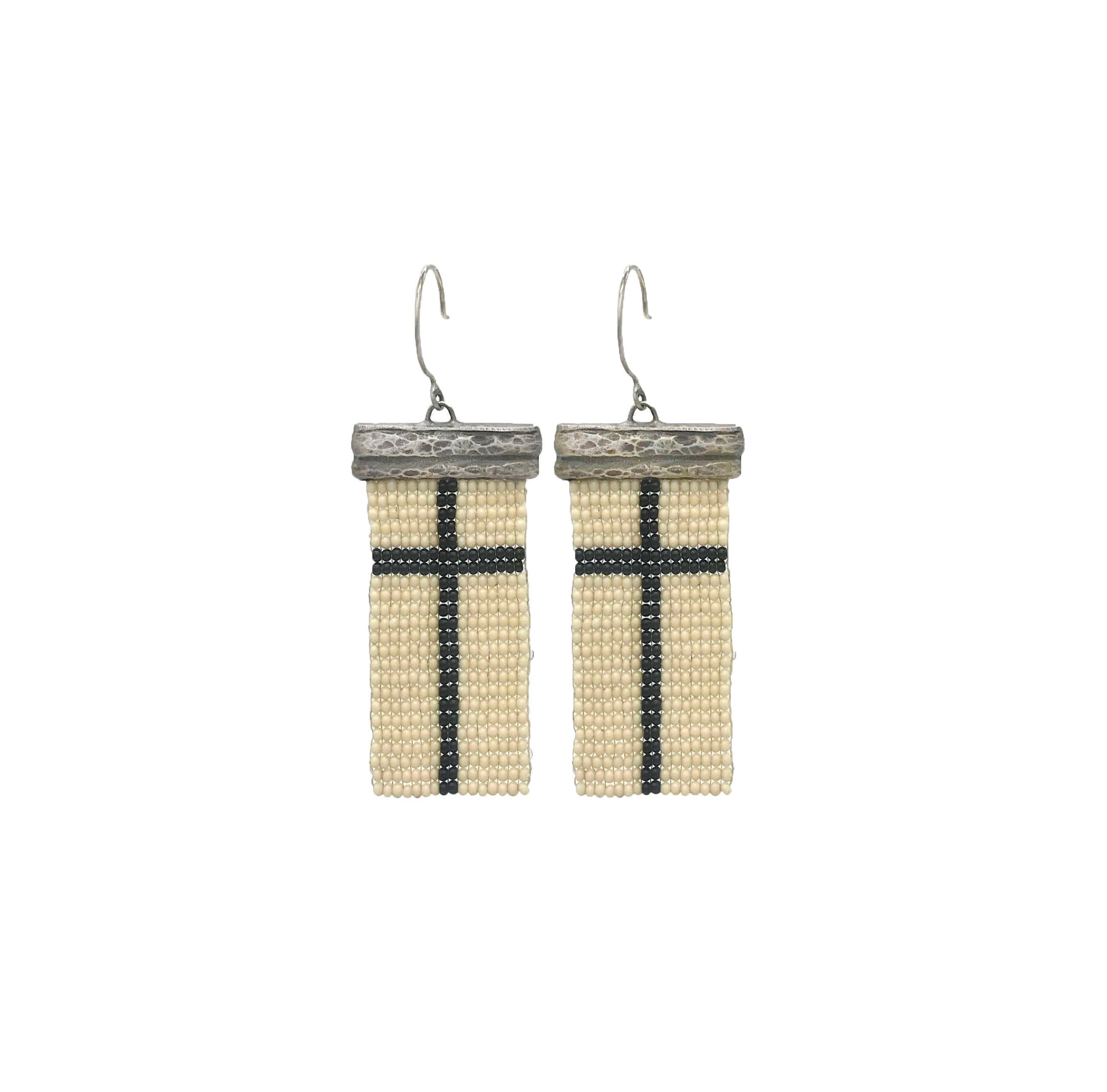 Loomed Black Cross Earrings