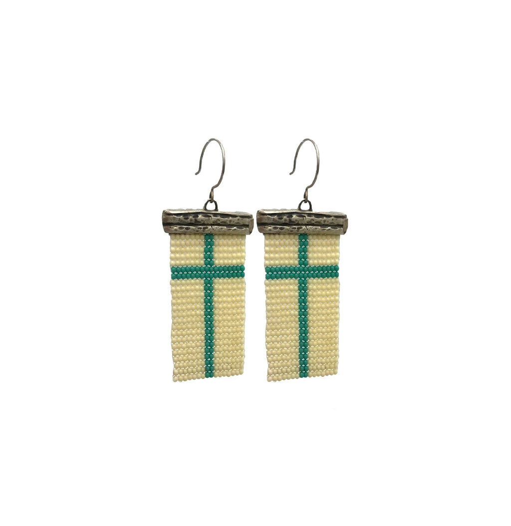 Loomed Blue Cross Earrings