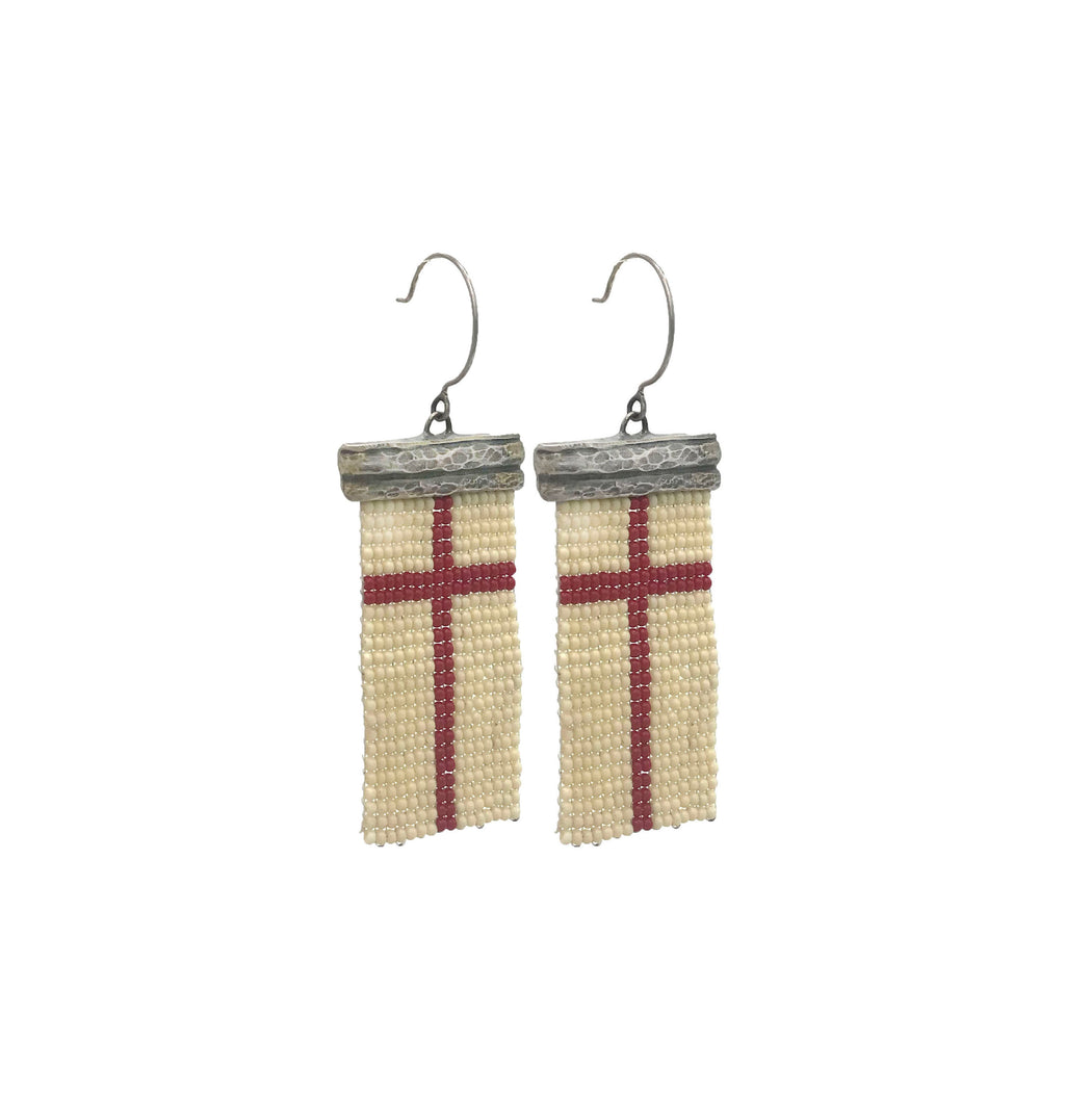 Loomed Red Cross Earrings