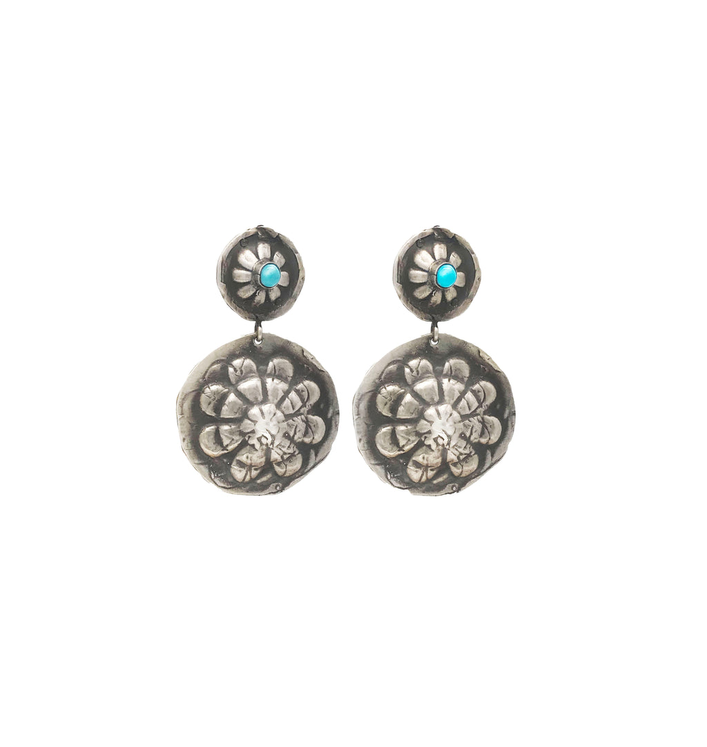 Flower Conchos with Turquoise Earrings