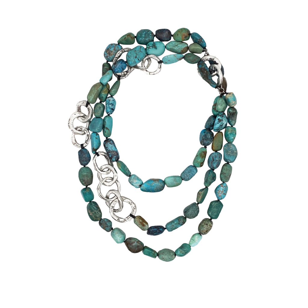 Triple Boulder Turquoise Necklace