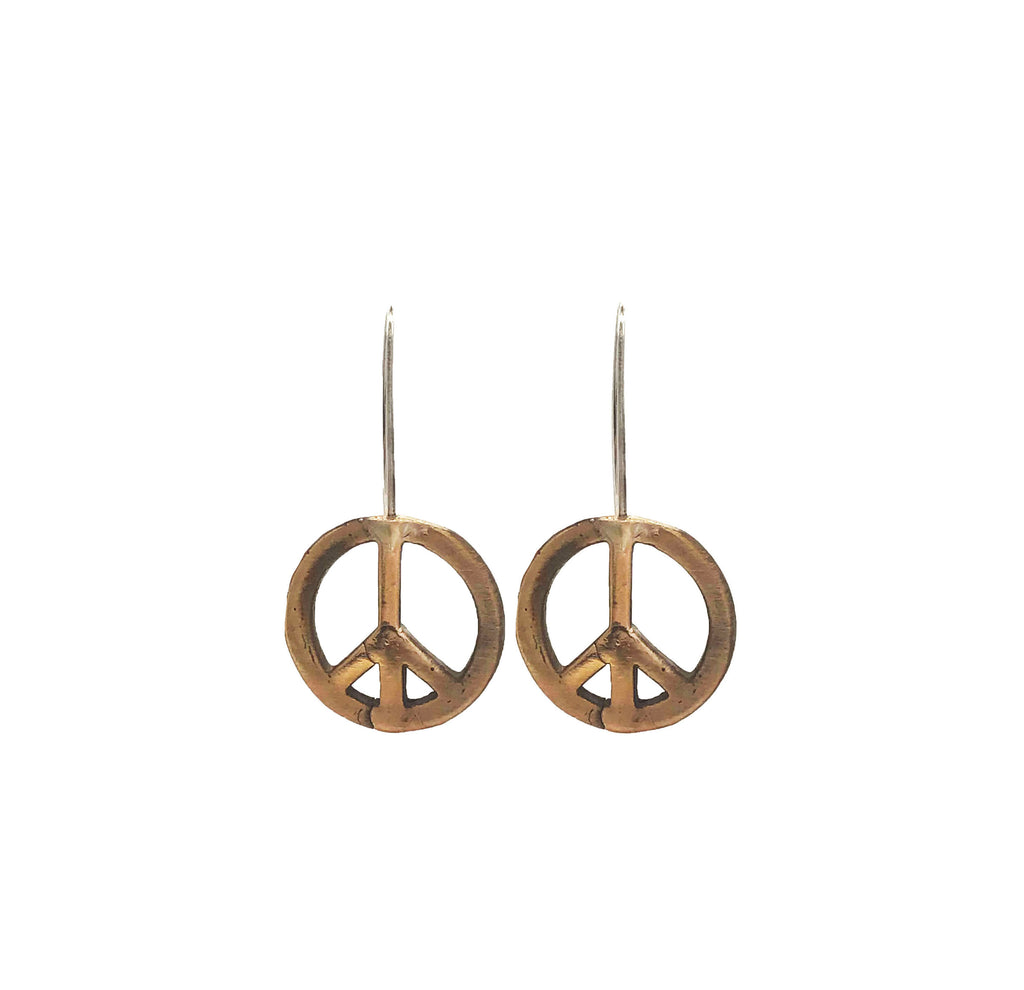 Bronze Peace Earrings