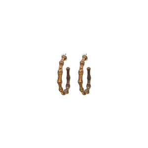 Bronze Bamboo Hoop Earrings